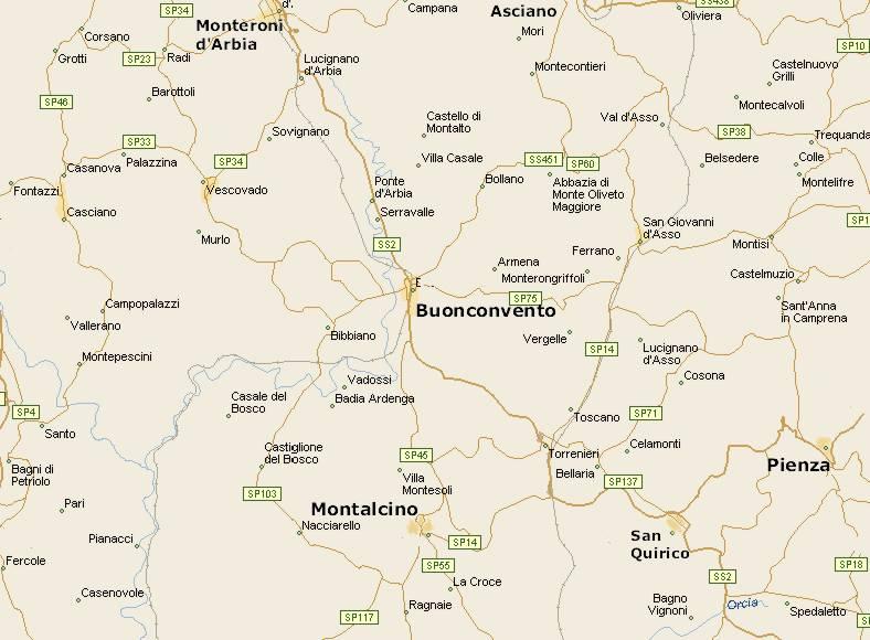 Il cuore della toscana mappa val d 39 arbia affittacamere - Bagno vignoni mappa ...