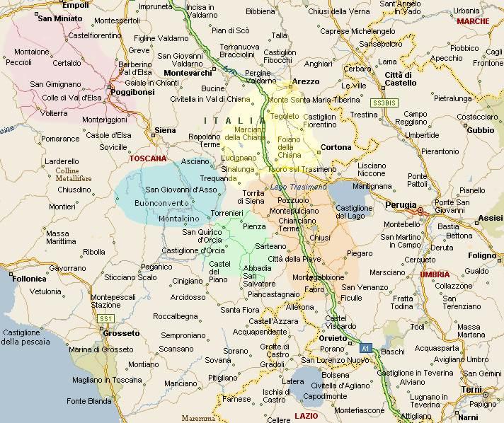 Cartina Interattiva Toscana.Il Cuore Della Toscana Mappa Generale Affittacamere Provincia Di Siena Toscana